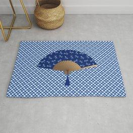 Japanese Fan, Dragonfly Pattern, Cobalt Blue Rug