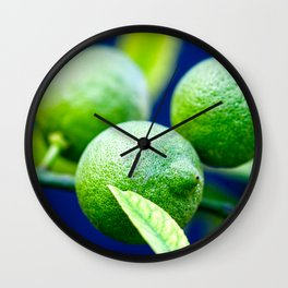 Green Lemons On The Tree Wall Clock