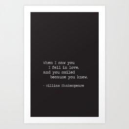 Shakespeare Quote: LOVE (white on black) Art Print