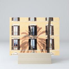 Palm Tree Shadow on Building Facade Rome Italy Mini Art Print