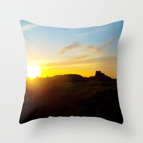 Winter sunset in Bamburgh Throw Pillow
