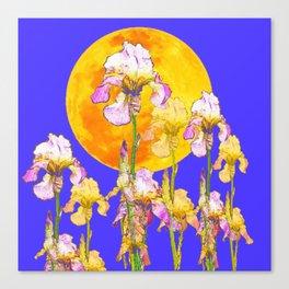 IRIS GARDEN & RISING GOLD MOON  DESIGN ART Canvas Print