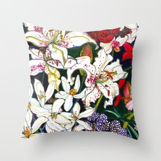 Lilies & Orchids Throw Pillow