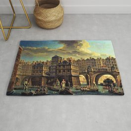 18th Century Paris, France along the River Seine by Jean Baptiste Nicolas Raguenet Rug