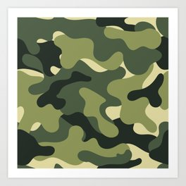Camouflage Camo Green Tan Pattern Art Print