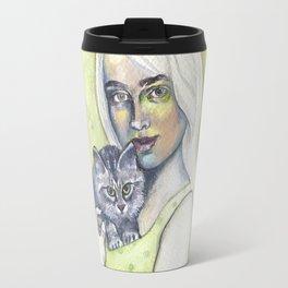 Girl with cat - by Fanitsa Petrou Travel Mug