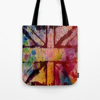 union jack Tote Bags featuring Union Jack  by ChandaElaine