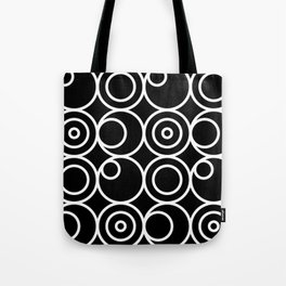 Circles - White on Black 1 Tote Bag