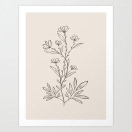 Minimalist Botanical Art, Wild Flower Line drawing in Modern Brown and Beige, Art Print