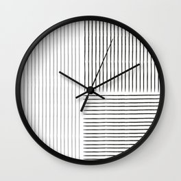 Abstract line art black and grey contemporary art Wall Clock