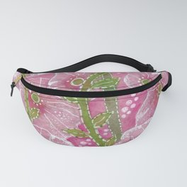 Hollyhock Mallows, Stem Rose, Summer Flowers, Paper Collage Fanny Pack
