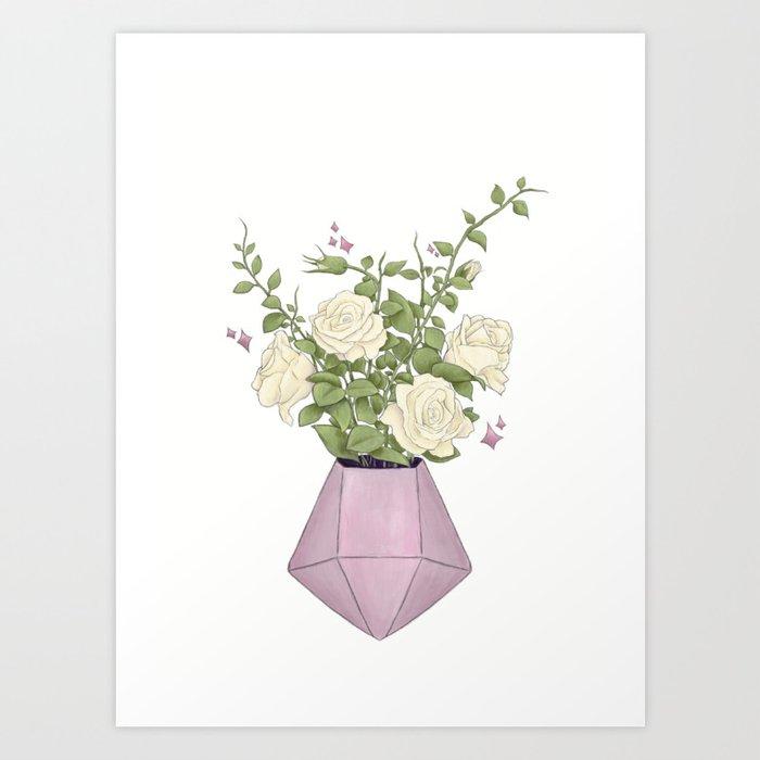 Gemstone Flowers | Digital Artwork Art Print