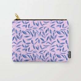 Blue nature on pink || watercolor leaves pattern Carry-All Pouch