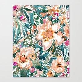TROPICAL TUMBLE Colorful Paradise Floral Canvas Print