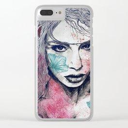 No Hope In Sight: Purple (tattoo girl portrait) Clear iPhone Case