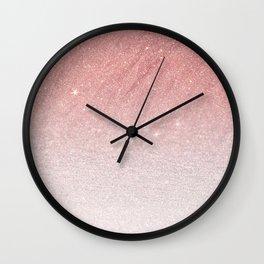 Elegant blush pink faux glitter ombre gradient pattern Wall Clock