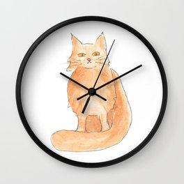 Orange cat sitting Wall Clock