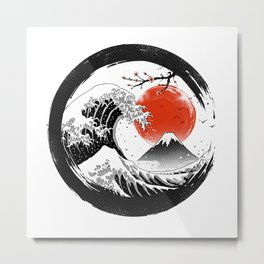 The Great Sumi Wave Metal Print