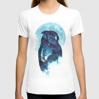 owls T-shirts featuring Midnight Owl by Robert Farkas