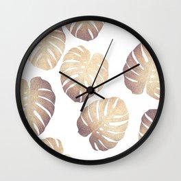 Pastel monstera Wall Clock