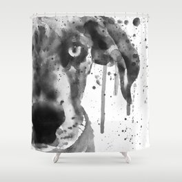 Black And White Half Faced Puppy Shower Curtain