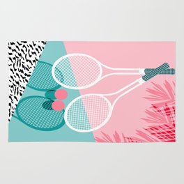 Sportin' - retro minimal pastel neon throwback memphis style pop art tennis sport court player Rug
