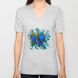 Butterflies are free in teal, blue, green and cream Unisex V-Neck