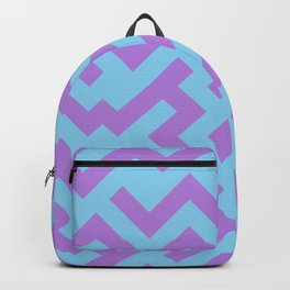 Lavender Violet and Baby Blue Diagonal Labyrinth Backpack