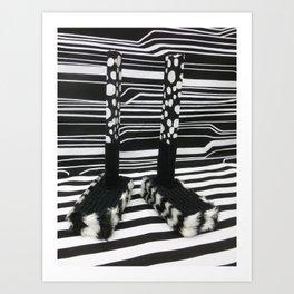 Black and White Shoebox Feet Art Print