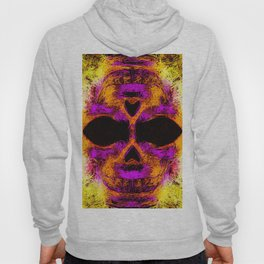 psychedelic angry skull portrait in pink orange yellow Hoody
