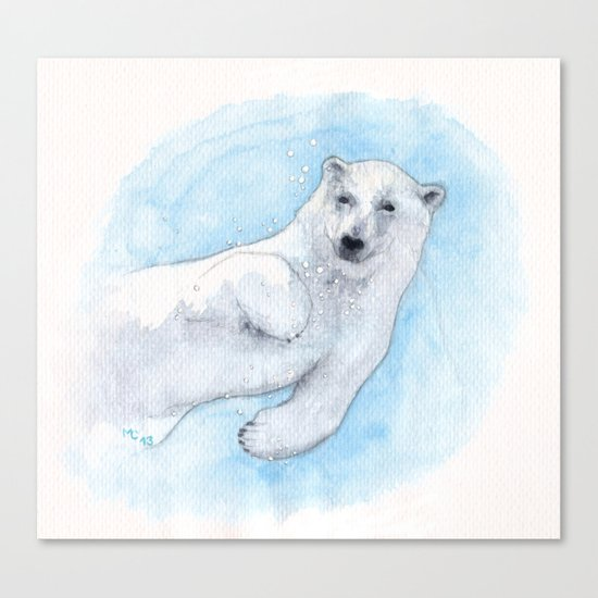 Polar bear underwater Canvas Print