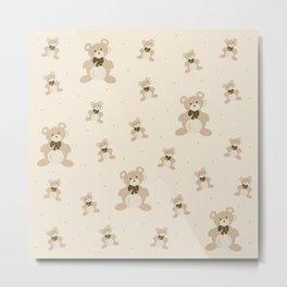 Teddy Bears - Beige Metal Print