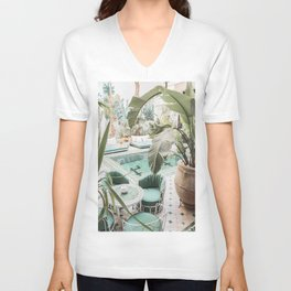 Travel Photography Art Print | Tropical Plant Leaves In Marrakech Photo | Green Pool Interior Design Unisex V-Neck