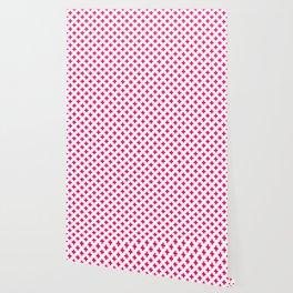Hot Neon Pink Crosses on White Wallpaper