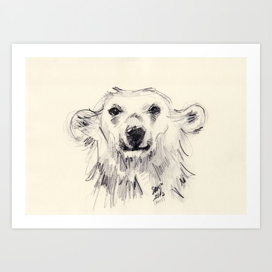Polar Bear Smiling Black and White Art Print