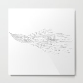 Bird Writing Handlettering Metal Print