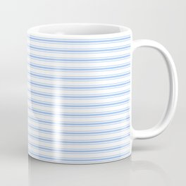 Mattress Ticking Narrow Horizontal Stripe in Pale Blue and White Coffee Mug