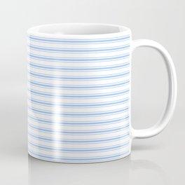 Mattress Ticking Narrow Horizontal Stripe in Pale Blue and White Coffee Mug