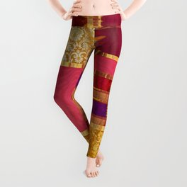 """Exotic fabric, ethnic and bohemian style, patches"" Leggings"