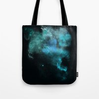 psychology Tote Bags featuring a cold nebula by Gabrielle Agius
