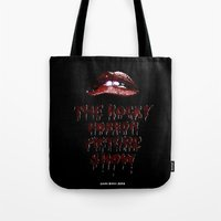 rocky horror Tote Bags featuring Rocky Horror Picture Show by Laura Streit