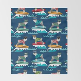 schnauzer surfing dog breed pattern Throw Blanket
