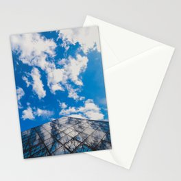 Cloud reflection in the Louvre Pyramid Stationery Cards