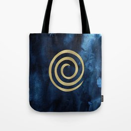 Infinity Navy Blue And Gold Abstract Modern Art Painting Tote Bag