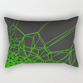 Green voronoi lattice on black background Rectangular Pillow