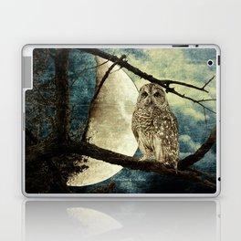 Barred Owl Bird Night Moon Blue Tans Country Art A137 Laptop & iPad Skin
