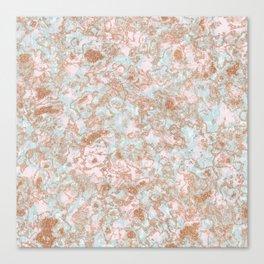 Mint Blush & Rose Gold Metallic Marble Texture Canvas Print
