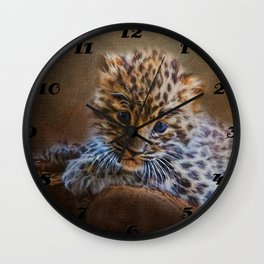 Cute painting amur leopard cub Wall Clock