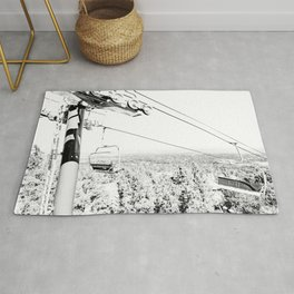 Chairlift // Mountain Ascent Black and White City Photograph Rug
