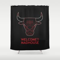 chicago bulls Shower Curtains featuring Madhouse Chicago Bulls by beejammerican